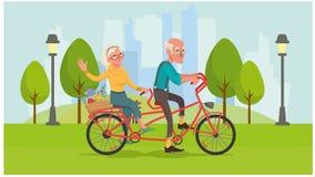 La grand-maman et le grand-papa montent un vélo illustration libre de droits