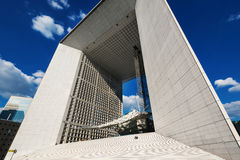 La Grande Arche at daytime. PARIS, FRANCE - MAY 18, 2014: The Arche is in the approximate shape of a cube (110mt) and was inaugurated in July 1989, for the Royalty Free Stock Photography