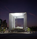 La Grande Arche in La Defense in Paris at sunset Royalty Free Stock Photo