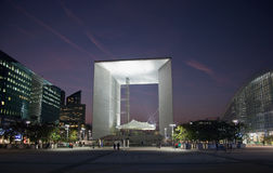 La Grande Arche in La Defense in Paris at sunset Royalty Free Stock Images