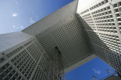 La Grande Arche (Paris, France). Looking up at the amazing architectural design of the Grande Arche in Paris stock image