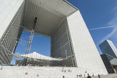 La Grande Arche Vapour trails Royalty Free Stock Photos