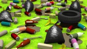La grande décharge de déchets, illustration 3d Photos libres de droits