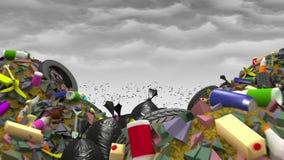 La grande discarica 3d animazione, ciclo senza cuciture illustrazione di stock