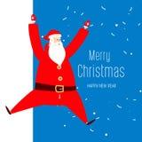 La grande enseigne de félicitations avec Santa sautent illustration de vecteur