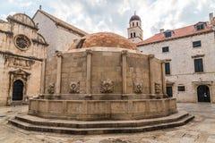 La grande fontaine d'Onofrio, vieille ville de Dubrovnik Images libres de droits