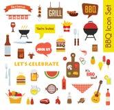 La grande icône de gril ou de barbecue a placé avec la nourriture et les objets Photographie stock