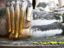La grande mano di Buddha nel parco storico della Tailandia Fotografia Stock
