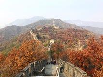 La grande muraglia della Cina alla sezione di Mutianyu delle montagne immagini stock libere da diritti