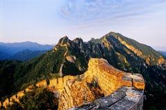 La Grande Muraglia della Cina a Jiankou quando tramonto Immagine Stock