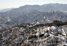 La grande muraglia nella neve di bianco di inverno Fotografie Stock Libere da Diritti