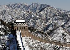 La grande muraglia nella neve di bianco di inverno fotografia stock libera da diritti