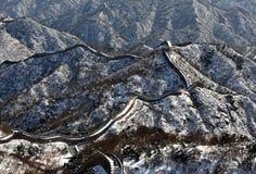 La Grande Muraille dans la neige de blanc d'hiver Photo libre de droits
