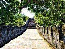 La Grande Muraille de la Chine, des touristes et de la nature photo stock