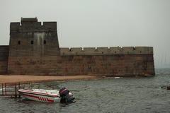 La Grande Muraille, la tête du vieux dragon - passage de Shanhai Image libre de droits