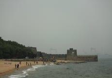 La Grande Muraille, la tête du vieux dragon - passage de Shanhai Photos stock