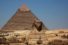 La grande piramide & lo Sphinx Fotografia Stock Libera da Diritti