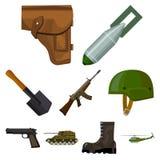 La grande raccolta dei militari e l'esercito vector l'illustrazione di riserva di simbolo Fotografia Stock