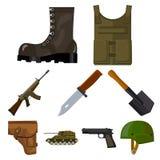 La grande raccolta dei militari e l'esercito vector l'illustrazione di riserva di simbolo Immagine Stock Libera da Diritti
