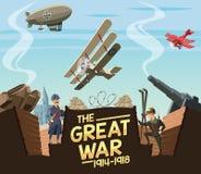 La grande scena di guerra royalty illustrazione gratis