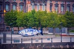 La grande scultura del pesce a Belfast, Irlanda del Nord, Regno Unito Fotografia Stock