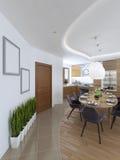 La grande table de salle à manger dans le secteur de cuisine Image stock