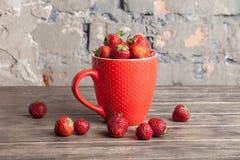 La grande tazza rossa ha riempito di fragole rosse mature fresche succose succulenti su un vecchio piano d'appoggio strutturato d Fotografia Stock