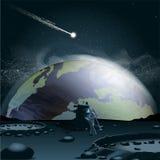 La grande terre de planète vue de la lune dans 3d Images stock