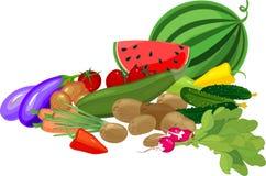 La grande toujours vie avec la composition en récolte d'automne avec la pastèque et les différents légumes sur le fond blanc illustration de vecteur