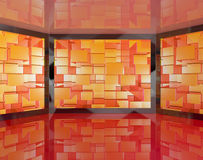 La grande TV riflette fissato al muro Immagine Stock