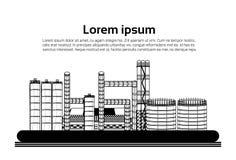 La grande usine, usine avec des émissions fument le tuyau d'air sur l'espace plat de copie de fond blanc Illustration Libre de Droits