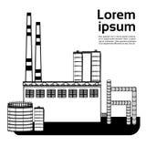 La grande usine, usine avec des émissions fument le tuyau d'air sur l'espace plat de copie de fond blanc Illustration de Vecteur