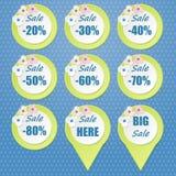 La grande vente étiquette avec la vente jusqu'à 20 - 80 pour cent de textes Image stock