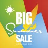 La grande vente d'été font de la planche à voile vecteur de fond de couleur de carte du soleil de conseil Photo libre de droits