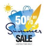 La grande vente d'été 50 pour cent font de la planche à voile vecteur bleu de fond de carte du soleil de conseil Photos libres de droits
