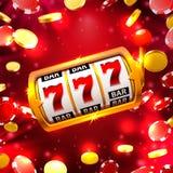 La grande victoire raine le casino de 777 bannières Illustration Stock