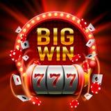 La grande victoire raine le casino de 777 bannières Image libre de droits