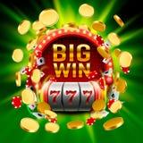 La grande victoire raine le casino de 777 bannières Photo libre de droits