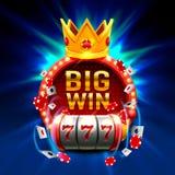La grande victoire raine le casino de 777 bannières Images libres de droits