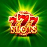 La grande victoire raine le fond de casino de 777 bannières Images libres de droits
