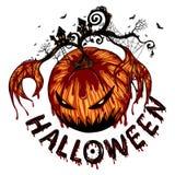 La grande zucca del fantasma sta scatenandosi in Halloween fotografia stock libera da diritti