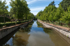 La Granja canal. Canal in the gardens of La Granja Palace, in Spain Stock Image