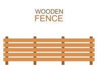La granja de madera sube a la construcción de madera de la silueta de la cerca en estilo plano stock de ilustración