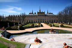 La Granja de San Ildefonso. With garden and fountain, Segovia Province, Castile and Leon, Spain royalty free stock photo