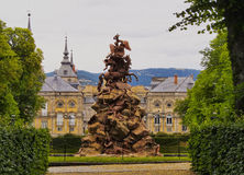 La Granja de San Ildefonso. Spain, Castile and Leon, Province of Segovia, San Ildefonso, View of the gardens of the Royal Palace of La Granja de San Ildefonso Royalty Free Stock Image