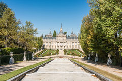 La granja de san ildefonso. View of the facade of the Palace of La Granja de San Ildefonso, Segovia, Spain Royalty Free Stock Images