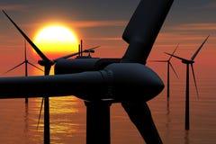La granja de viento en la puesta del sol 02 3D del mar rinde Imagenes de archivo