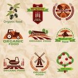 La granja, iconos de la agricultura, etiqueta la colección Fotos de archivo libres de regalías