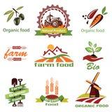 La granja, iconos de la agricultura, etiqueta la colección Fotografía de archivo