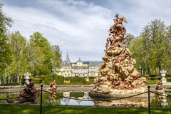 La Granja. Source of Fame. Gardens of La Granja. Source of Fame. Authors: Demaudre and Pitue. At the top we find Pegaso carrying on its wings to fame, playing Stock Photo